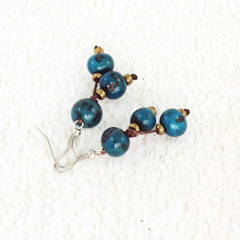Royal Blue Earrings  Acai Beads  Funky Earrings  Fair Trade image 0