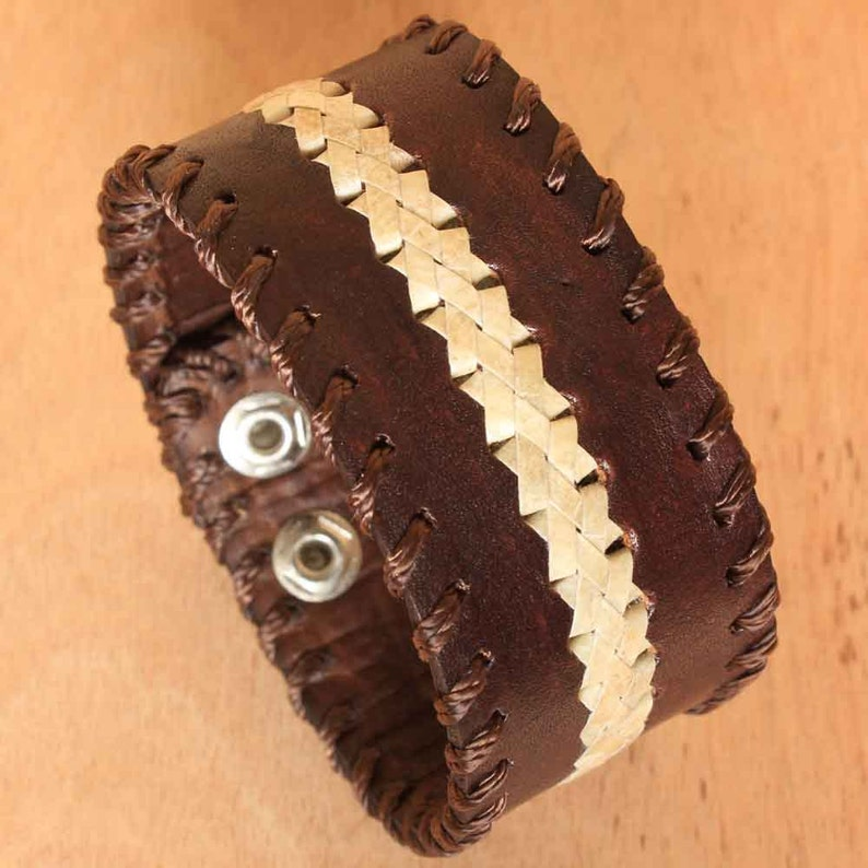 Brown Leather Wristband for Men  Cuff Leather Bracelet for image 0