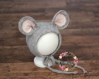Grey mouse outfit bonnet hat baby boy girl Newborn Sitter Photo Prop UK Seller LouLouBoutique Photography Props