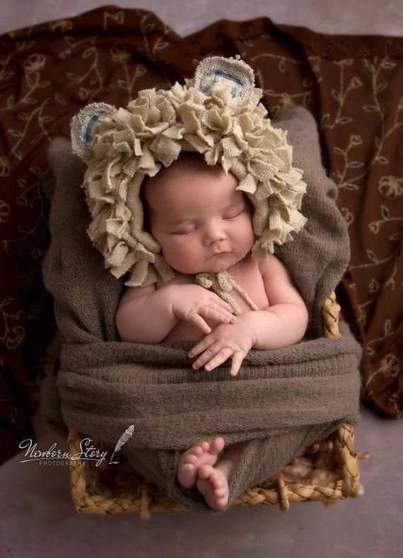 Cute Natural Beige lion bear bonnet hat baby boy girl Newborn  b763e43c7c9c