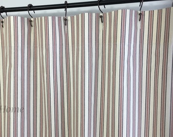 Shower Curtain Ticking Stripe Boulevard Burgundy And Eggplant Ivory Extra Long Wide 72 X 84 90 96 108