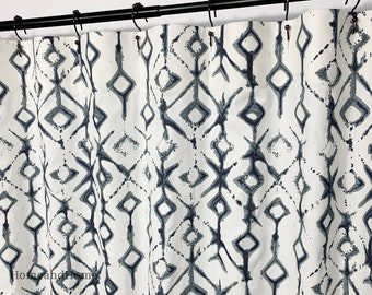 Shower Curtain Tribal Vintage Indigo Blue Long Fabric 72 X 84 108 Extra Wide Custom Curtains