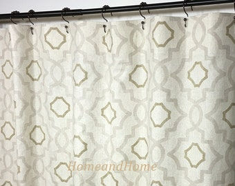 Custom Fabric Shower Curtain Talbot Mist Beige Brown Cream 72 X 84 Long 108 Extra Wide