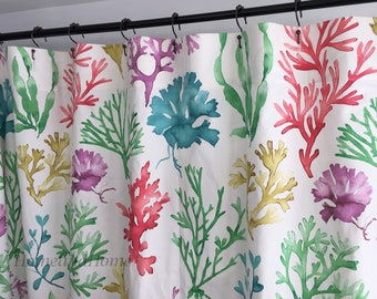 Fabric Shower Curtain P Kaufmann Sea Wonders Novelty Coral Grasses Zinc Turquoise 72 X 84 108 Long Custom