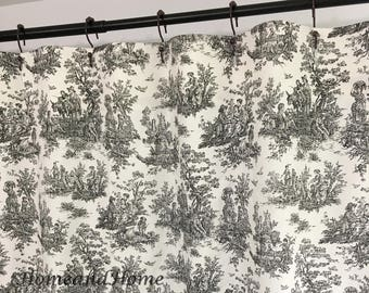 Toile Shower Curtain Fabric Custom Black White Stall 72 X 84 108 Long Extra Wide