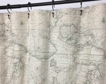 Global Map Shower Curtain Custom Gray Natural 72 X84 108 Long Extra Wide Fabric