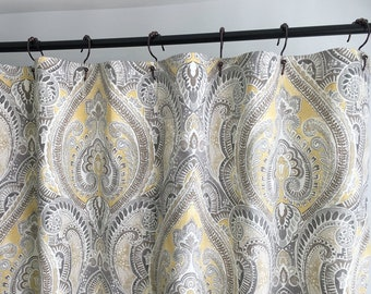 Shower Curtain Paisley Damask 72 X 84 96 108 Fabric Extra Long