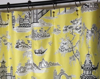 Shower Curtain Toile Waverly Peaceful Temple Chintz Lemongrass 72 X 84 108 Long Extra Wide