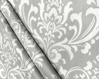 Gray Shower Curtain Damask 72 X 84 108 Long Extra Fabric Custom