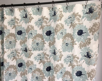 Custom Shower Curtain Spa Blue Taupe Grey White Long Extra Wide 72x 84 108 Fabric 54 X78