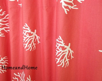 Custom Fabric Shower Curtain 72 X 84 Coral White Extra Long 78