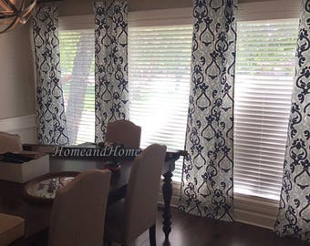 Navy Blue Curtains 25 2 Panels Cafe Drapery Window Custom Alex