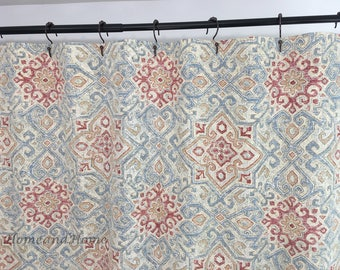Shower Curtain Covington Beige Cream Sky Blue Red 72 X 84 108 Long Extra Wide Fabric