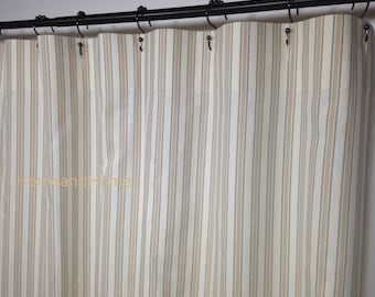 Stripe Shower Curtain Ticking Boulevard Grey Tan Ivory Long Extra Wide 72 X 84 90 96 108 Custom