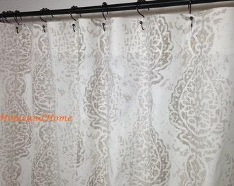 Shower Curtain Fabric Shower Curtain Ecru White 72 X 84 96 108 Long Shower  Curtain Extra Wide Shower Curtain 54 X78 Custom Shower Curtain