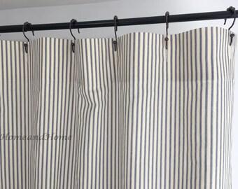 Custom Fabric Shower Curtain Ticking Stripe Indigo Blue Natural 72 X 84 108 Long Extra Wide