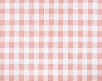 Small Plaid Blush Pink Shower Curtain Light White Slub Linen Look Long Extra Wide Custom