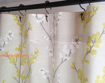 Custom Fabric Shower Curtain Evelynne Slub Lemongrass Ivory Grey Yellow Tan Long 72 X 84 96