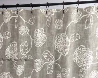 Fabric Custom Shower Curtain Adele Slate Ivory And Taupey Grey Long Extra Wide 72 X 84 90 96 108