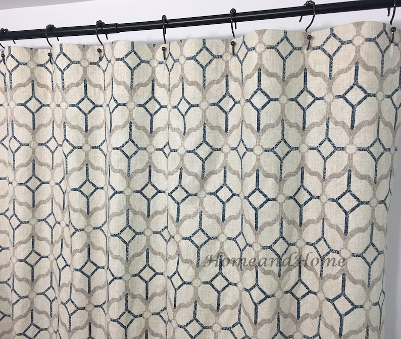 Fabric Shower Curtain Rockaway Navy Blue Grey Beige 72 X 84