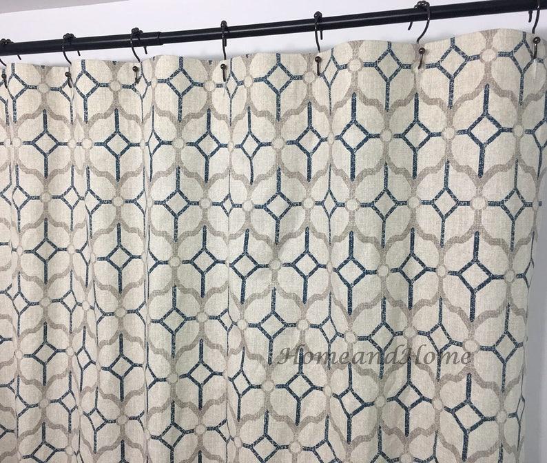 Fabric Shower Curtain Rockaway Navy Blue Grey Beige 72 X 84 Etsy