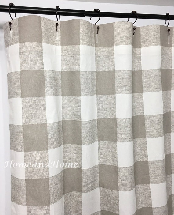 Check Shower Curtain Buffalo Ecru Taupe Long