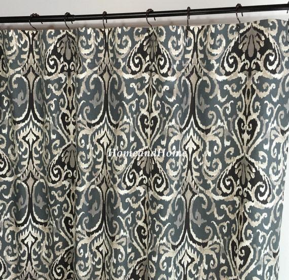 Fabric Shower Curtain Ikat Shower Curtain Midnight Ivory Grey