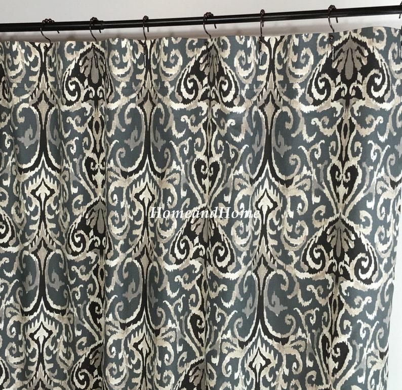 Fabric Shower Curtain Ikat Midnight Ivory Grey
