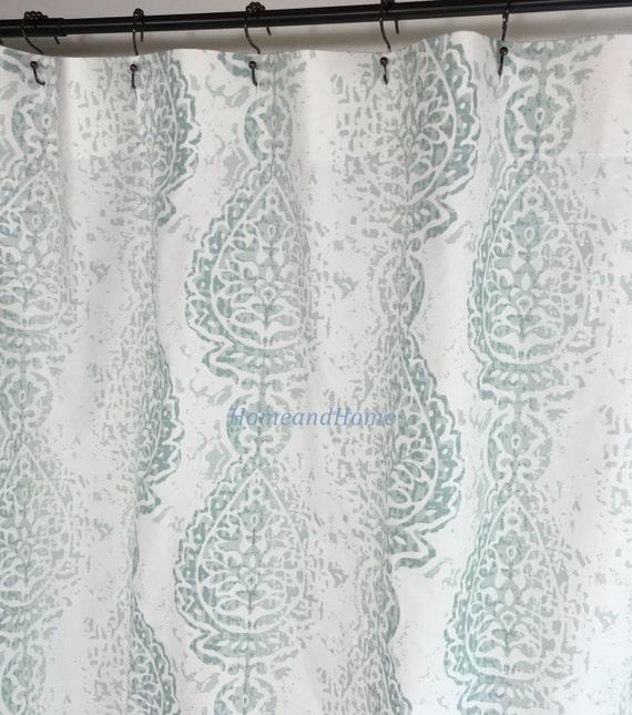 Shower Curtain Manchester Pale Aqua Snowy White 72x 84 108