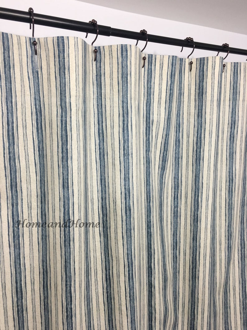 Stripe Shower Curtain Fabric Shower Curtain Custom Shower Curtain Denim Blue Gray 72 X 84 108 Long Shower Curtain Extra Wide Shower Curtain