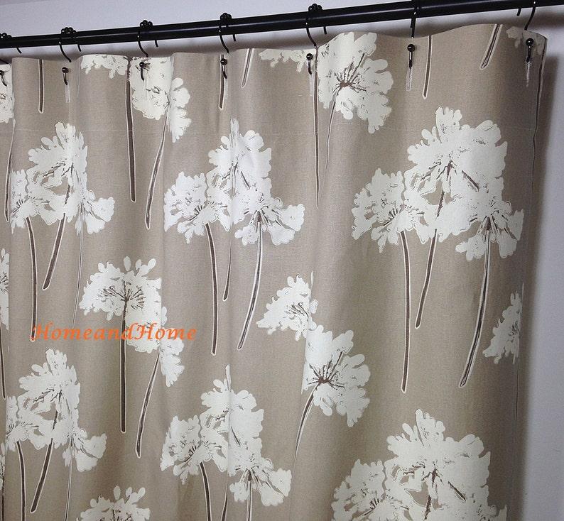 Custom Fabric Shower Curtain Serenity Linen Ivory Taupe Tan