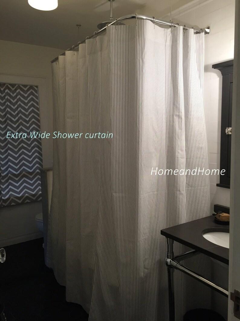 Striped Shower Curtain Fabric Ticking Black