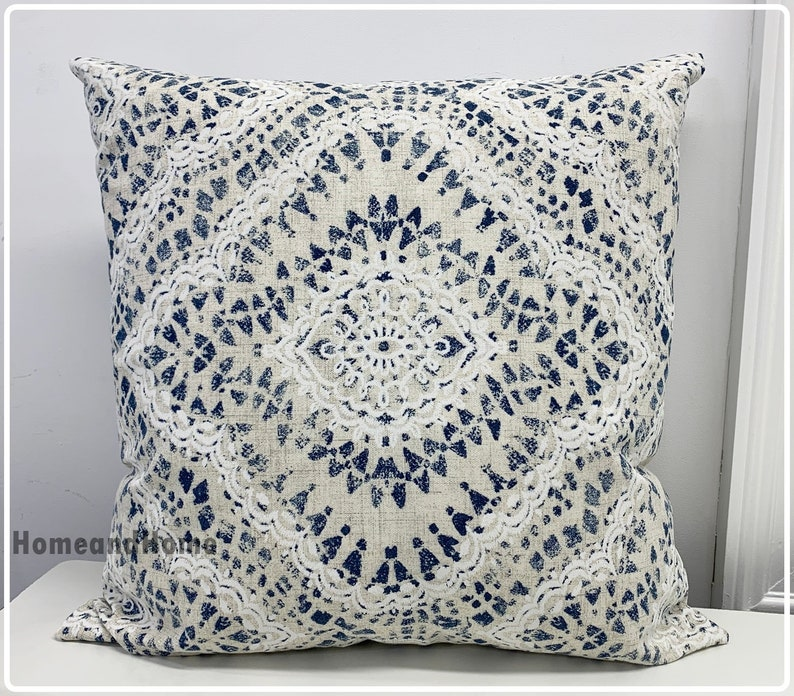 cream tan Waverly Pillow cover 18x 18 Zipper Closure white taupe and shades of blue.