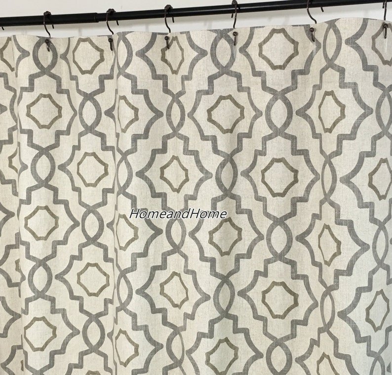Fabric Shower Curtain Talbot Metal Grey Beige Extra Long