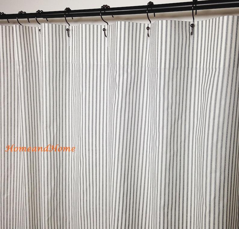 Stripe Shower Curtain Fabric Ticking Black White 72 X 84 96