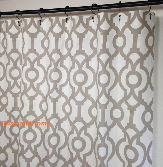 Shower Curtain Lyon Ecru Taupe White Long 72