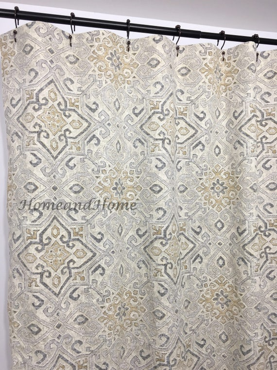 Shower Curtain Covington Grey Taupe Beige 72 X 84 108 Long