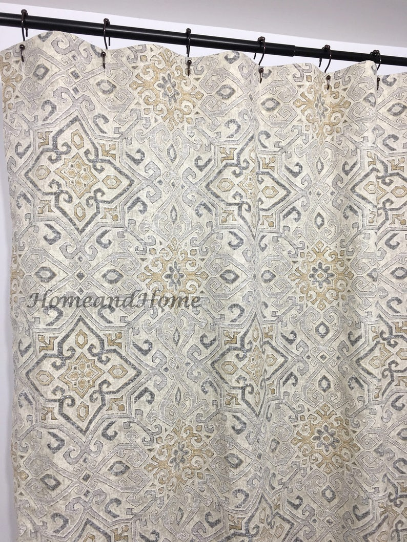 Shower Curtain Covington Grey Taupe Beige 72 X 84 108 Long Extra