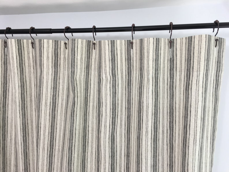 Farmhouse Shower Curtain Fabric Custom Gray Light Grey Striped Long Extra Wide