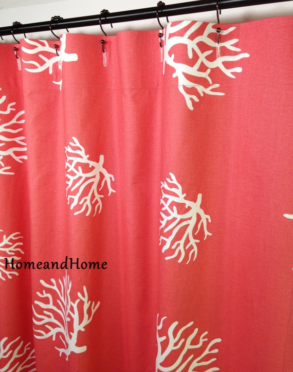 Custom Fabric Shower Curtain 72 X 84 Coral White Extra