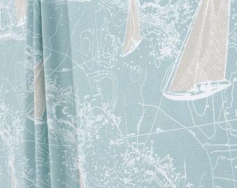 Shower Curtain Nautical Sail Away Spa Blue Fabric 72 X 84 108 Custom Long Extra Wide