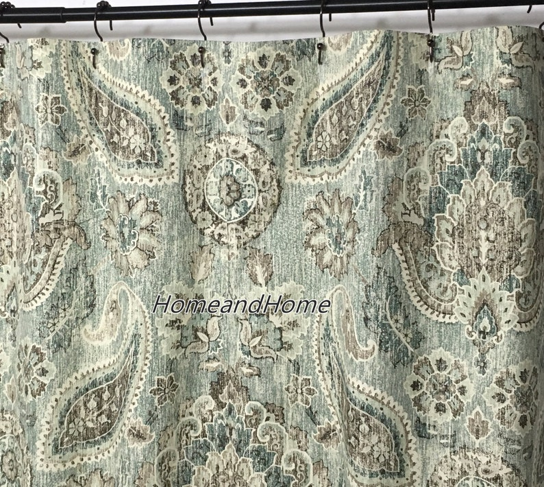 Shower Curtain Paisley Geyer Blue Teal