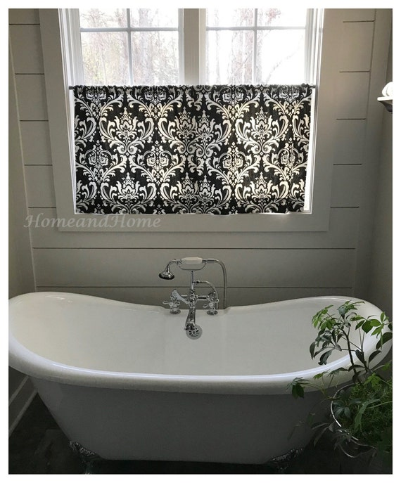 Damask Valances Damask Cafe curtains. Kitchen Valance. Bathroom Curtains.  Bathroom valance. Curtain Valance Kitchen Curtains