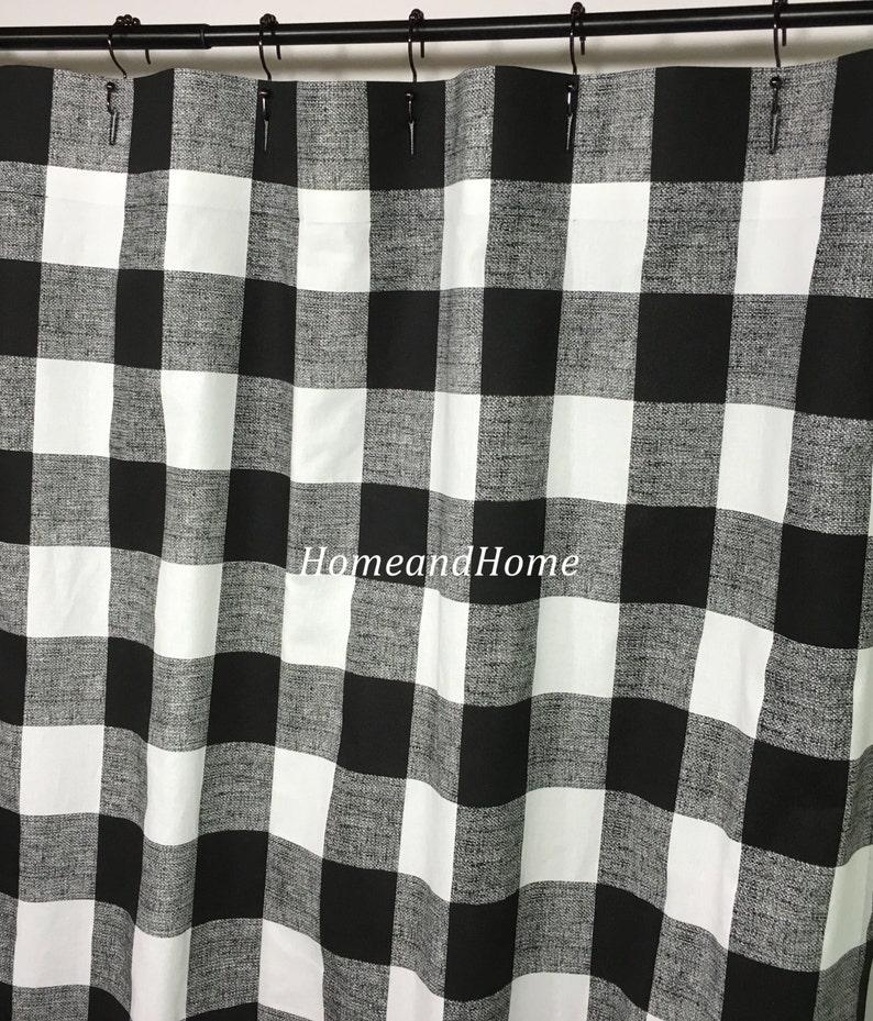 Custom Fabric Shower Curtain Buffalo Check Black White