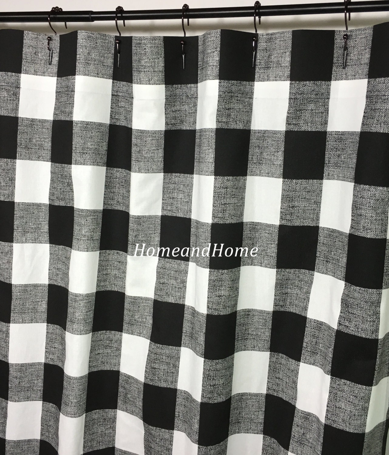 Custom Fabric Shower Curtain Buffalo Check Black White 54 W X 78 L 72 X 84 Long Shower Curtain 108 Extra Wide Shower Curtain