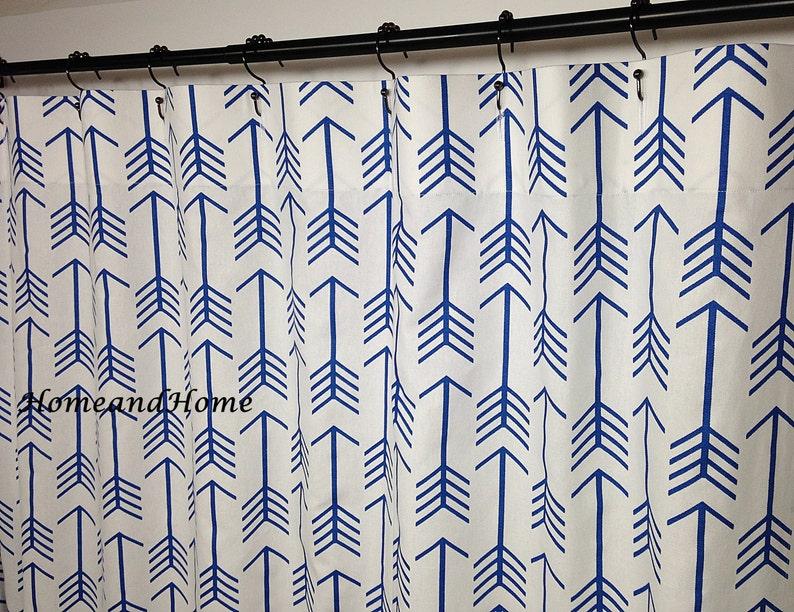 Shower Curtain Arrow Cobalt Blue White 72 X 84