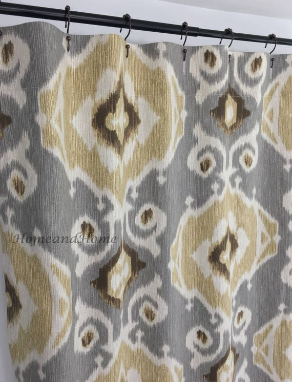 Custom Shower Curtain Ikat Beige Tan Brown Grey 72 X 84 108