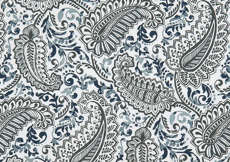 Paisley Shower Curtain Blue Gray White 72 X 84 108 Custom Fabric