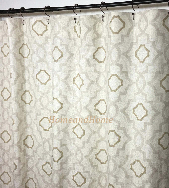 Custom Fabric Shower Curtain Talbot Mist Beige Brown Cream 72 X 84 Long Shower Curtain 108 Extra Wide Shower Curtain