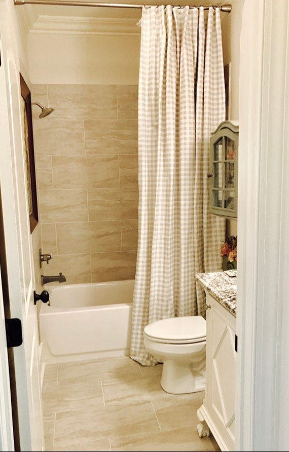 Plaid Shower Curtain Custom French Gray White